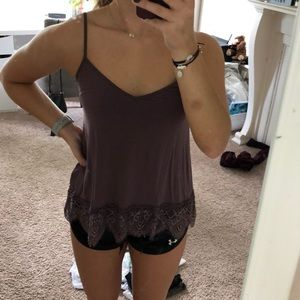 Purple tank with lace finish on bottom
